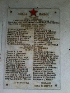 Спомен плоча борцима НОБ-а